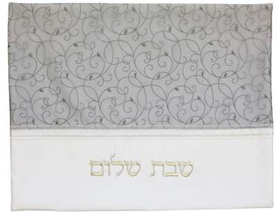 "Ben and Jonah Challah Cover-20"" X 16""-Blue/Silver/White Vine Design"