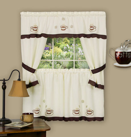 Traditional Elegance Cuppa Joe Embellished Cottage Window Curtain Set 58x36