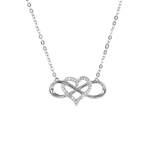 Ben and Jonah Infinite Love Heart With CZs 925 Sterling Silver Gold Plated Necklace 18.25 inch  (16.25 inch  + 2 inch  Extension)