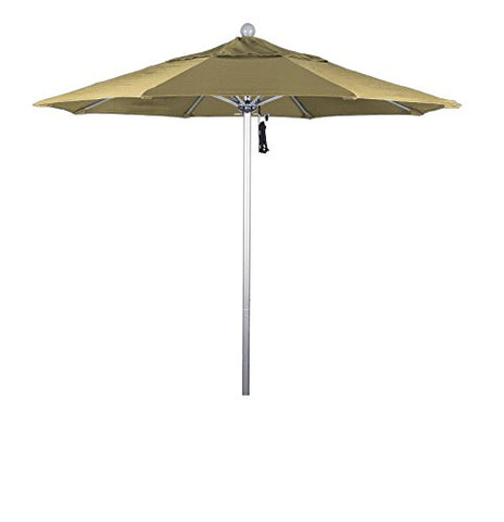 Eclipse Collection 7.5' Fiberglass Market Umbrella PO DVent Silver Anodized/Sunbrella/Wheat