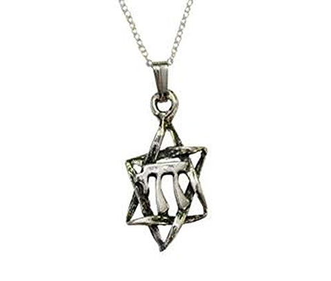 Silver Star of David with Chai in Middle Necklace - Chain 18 inch  Pendant 1/2 inch W X 1 1/4 inch H