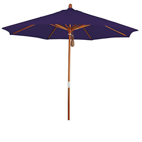 Eclipse Collection 9' Wood Market Umbrella Pulley Open Marenti Wood/Pacifica/Purple