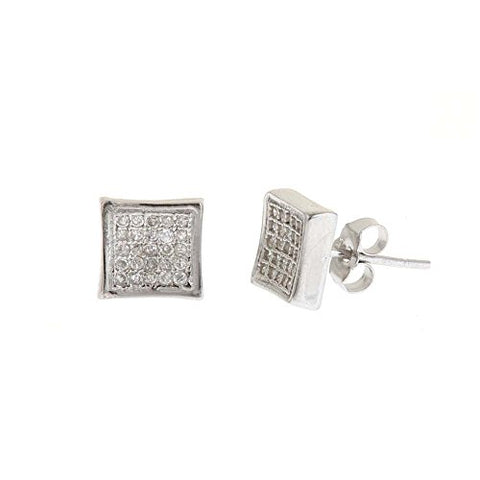 Ben and Jonah 925 Silver Micro Pave 8mm Incave Square Stud Earrings with CZs