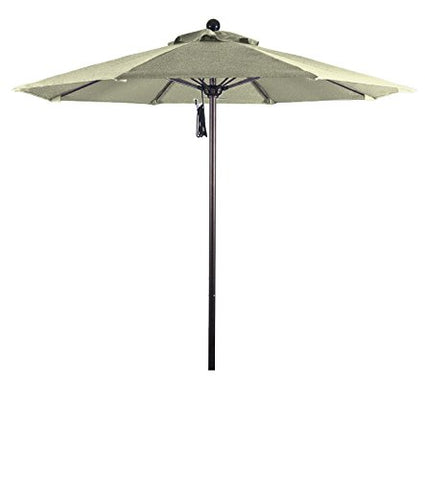 Eclipse Collection 7.5' Fiberglass Market Umbrella Pulley Open Bronze/Pacifica/Canvas