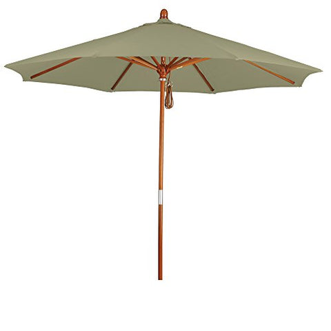 Eclipse Collection 9' Wood Market Umbrella Pulley Open Marenti Wood/Pacifica/Taupe