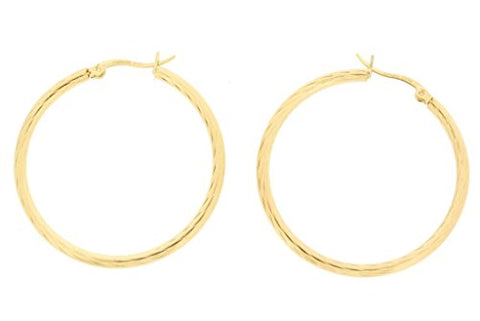 Ben and Jonah Stainless Steel Gold Plated Textured Hoop Earring (40mm)