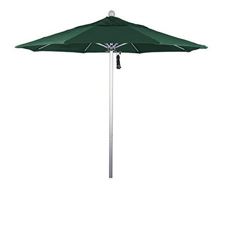 Eclipse Collection 7.5' Fiberglass Market Umbrella PO DVent Silver Anodized/Sunbrella/ForestGreen