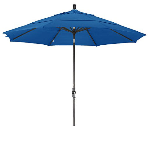 Eclipse Collection 11' Aluminum Market Umbrella Collar Tilt Bronze/Olefin/Royal Blue/DWV