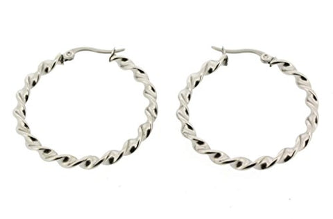 Ben and Jonah Stainless Steel DNA Double Helix Hoop Earring 20mm