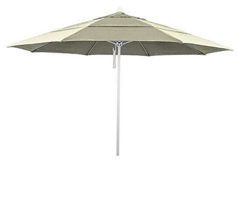 Eclipse Collection 11' Fiberglass Market Umbrella PO DVent White/Sunbrella/Natural