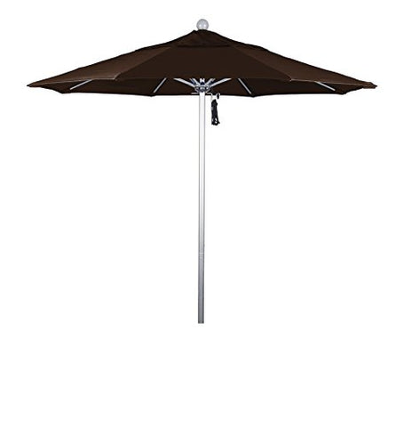 Eclipse Collection 7.5' Fiberglass Market Umbrella PO DVent Silver Anodized/Sunbrella/BayBrown