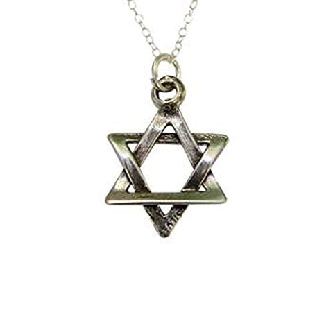 Silver Star of David Necklace - Chain 18 inch  Pendant 3/4 inch W X 3/4 inch H