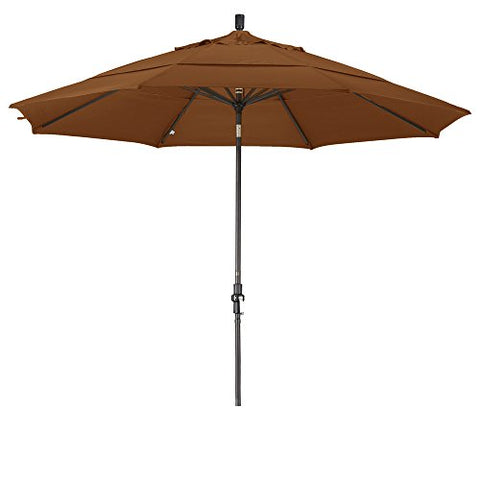 Eclipse Collection 11' Aluminum Market Umbrella Collar Tilt Bronze/Olefin/Teak/DWV