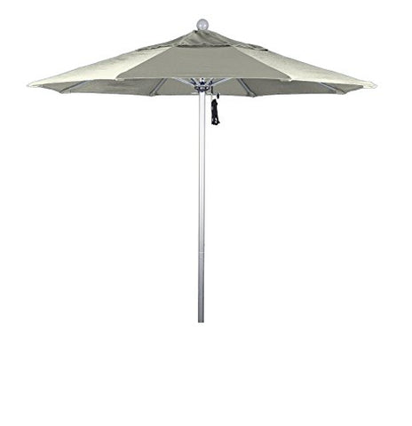 Eclipse Collection 7.5' Fiberglass Market Umbrella Pulley Open Silver Anodized/Pacifica/Canvas