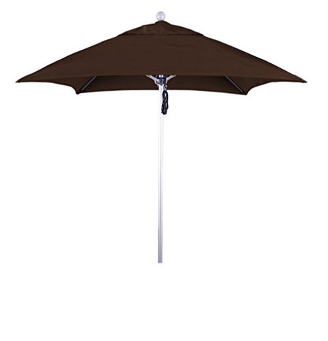 Eclipse Collection 6' Fiberglass Market Umbrella PO DVent Silver Anodized/Sunbrella/BayBrown