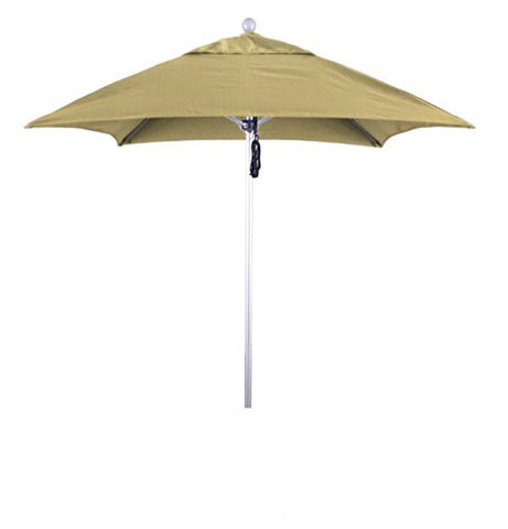 Eclipse Collection 6' Fiberglass Market Umbrella PO DVent Silver Anodized/Sunbrella/Wheat