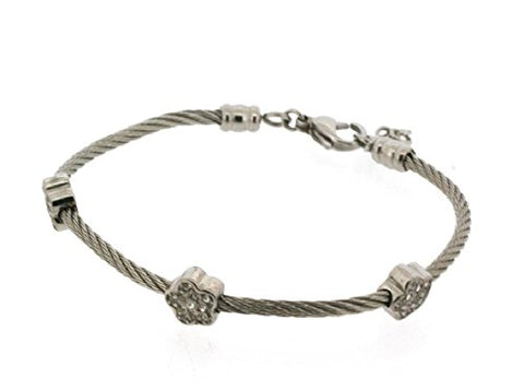 Ben and Jonah Stainless Steel Ladies Cable Bracelet with Star Static Charms Cover with Clear Stones
