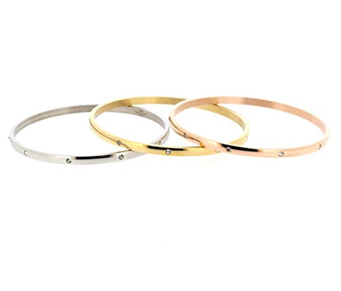 Ben and Jonah Stainless Steel Tri-Tone Fancy Set of 3 Bangles with Clear Stones 70mm
