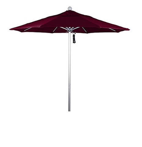 Eclipse Collection 7.5' Fiberglass Market Umbrella Pulley Open Silver Anodized/Pacifica/Burgandy