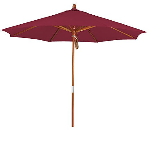Eclipse Collection 9' Wood Market Umbrella Pulley Open Marenti Wood/Pacifica/Burgandy