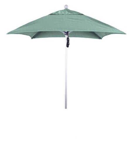 Eclipse Collection 6' Fiberglass Market Umbrella PO DVent Silver Anodized/Sunbrella/Specturm Mist