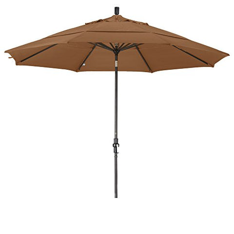 Eclipse Collection 11' Aluminum Market Umbrella Collar Tilt Bronze/Olefin/Straw/DWV
