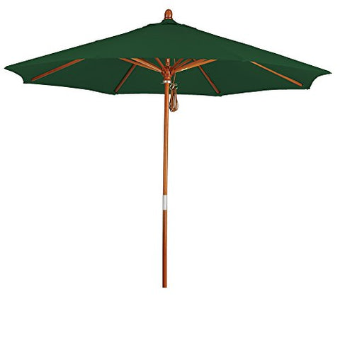 Eclipse Collection 9' Wood Market Umbrella Pulley Open Marenti Wood/Pacifica/Hunter Green