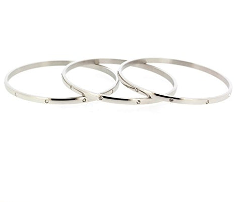Ben and Jonah Stainless Steel Fancy Set of 3 Bangles with Clear Stones 70mm