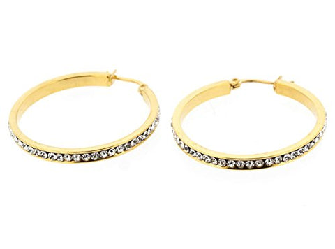 Ben and Jonah Stainless Steel Gold Plated Fancy Hoop Earring with Complete Clear Stone Coverage (35mm)