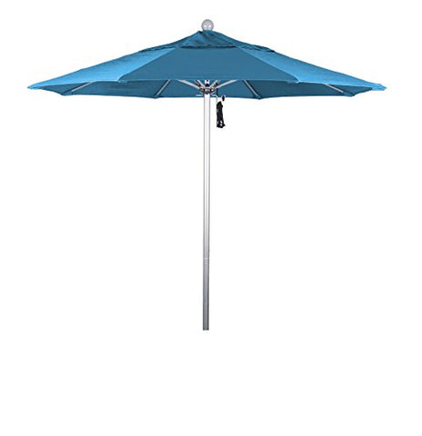 Eclipse Collection 7.5' Fiberglass Market Umbrella Pulley Open Silver Anodized/Pacifica/Capri