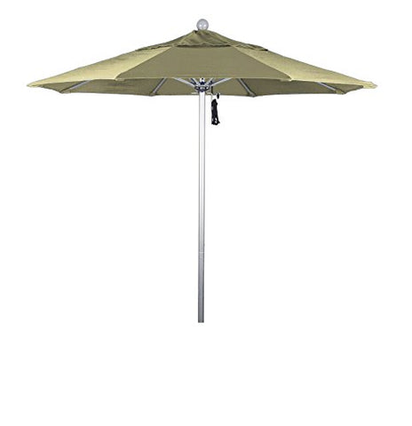 Eclipse Collection 7.5' Fiberglass Market Umbrella Pulley Open Silver Anodized/Pacifica/Beige