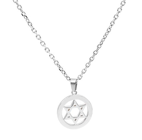BenandJonah Stainless Steel David's Star Pendant With 18 inch  Chain