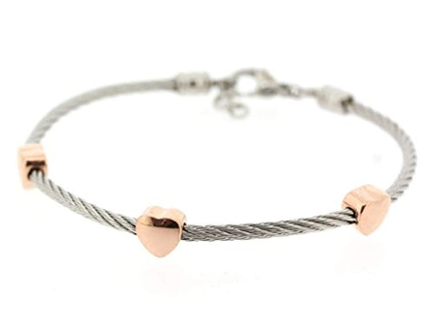 Ben and Jonah Stainless Steel Ladies Cable Bracelet with Heart Rose Gold Plated Static Charms