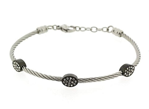 Ben and Jonah Stainless Steel Ladies Cable Bracelet with Oval Black Plated Static Charms Cover with Clear Stones