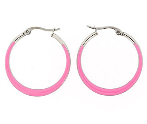 Ben and Jonah Stainless Steel Flat Crescendo (Wider on the Bottom) Hoop Earring with Pink Oil Paint
