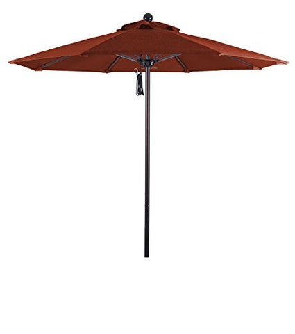 Eclipse Collection 7.5' Fiberglass Market Umbrella Pulley Open Bronze/Olefin/Terracotta