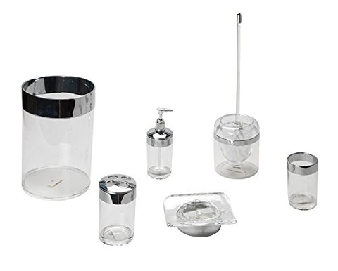Park Avenue Deluxe Collection Park Avenue Deluxe Collection Clear with Chrome Colored Trim 5 Piece Acrylic Bath Accessory Set