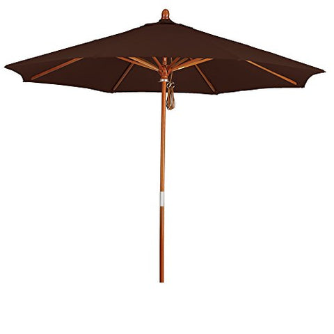 Eclipse Collection 9' Wood Market Umbrella Pulley Open Marenti Wood/Pacifica/Mocha