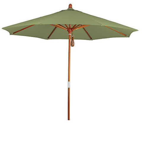 Eclipse Collection 9' Wood Market Umbrella Pulley Open Marenti Wood/Pacifica/Palm