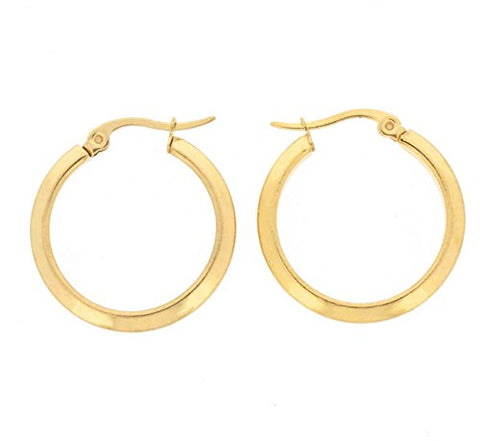 Ben and Jonah Stainless Steel Gold Plated Sharp Hoop Earring (20mm)