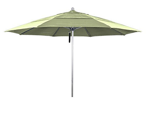 Eclipse Collection 11' Fiberglass Market Umbrella PO Dvent Silver Anodized/Pacifica/Natural