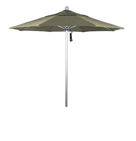 Eclipse Collection 7.5' Fiberglass Market Umbrella Pulley Open Silver Anodized/Pacifica/Taupe