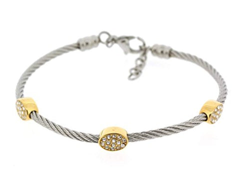 Ben and Jonah Stainless Steel Ladies Cable Bracelet with Oval Gold Plated Static Charms Cover with Clear Stones
