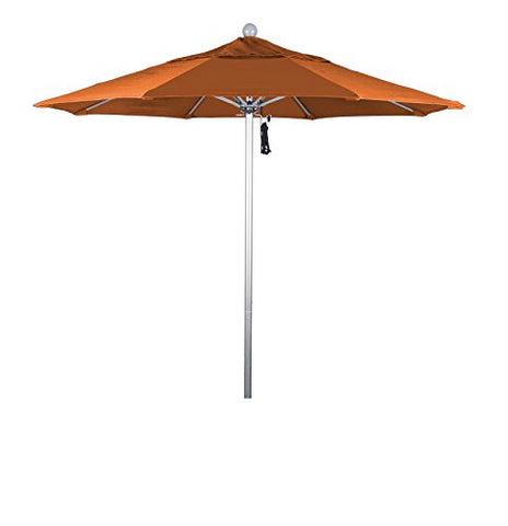 Eclipse Collection 7.5' Fiberglass Market Umbrella Pulley Open Silver Anodized/Pacifica/Tuscan