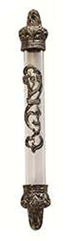 Ultimate Judaica Translucent Mezuzah Cover with Bronze Floral Shin Daled Yud Design - 10 CM