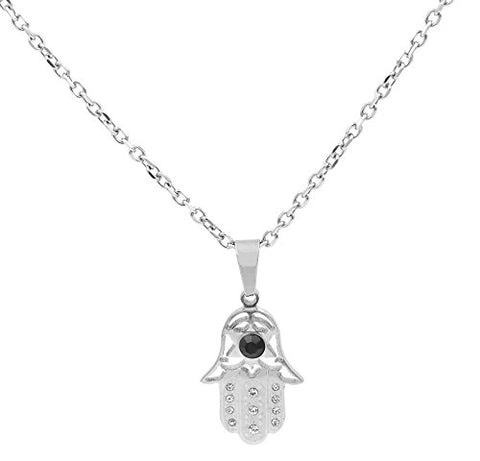 Ben and Jonah Stainless Steel Hamsa Evil Eye Women's Pendant With 18 inch  Link Necklace