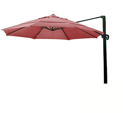 Eclipse Collection 11' CantileverUmbrella CrankLift MultiPositon Tilt Bronze/Sunbrella/J.Red