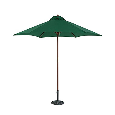 Eclipse Collection 8'3 inch H x 9'Dia Hexagonal Wood Market Umbrella with Pulley (Green)