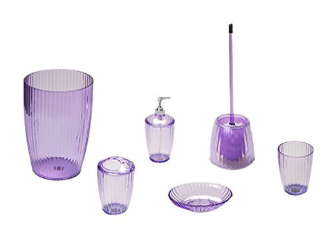 Park Avenue Deluxe Collection Park Avenue Deluxe Collection Magenta Ribbed 5 Piece Acrylic Bath Accessory Set