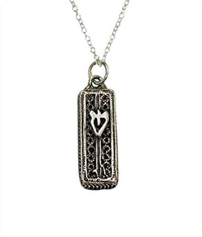 Silver Mezuzah Necklace - Chain 18 inch  Pendant 15/16 inch H 3/8 inch W